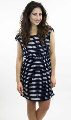 Ya Los Angeles | Double Stripe Navy Dress - Vamped Boutique | Nautical outfit perfect for the Fourth of July or any summer day!