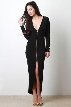 Zipper Front Maxi Dress
