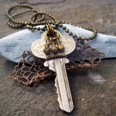 Recycled 1930's Vintage Key Necklace by TheFamiLeeJewels on Etsy