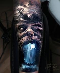 Tattoo photo - Poseidon tattoo by Arlo Tattoos Hand Tattoos, Best Sleeve Tattoos, Tattoo Sleeve Designs, Forearm Tattoos, Body Art Tattoos, Realistic Tattoo Sleeve, Portrait Tattoos, Tattoos Skull, Ocean Sleeve Tattoos