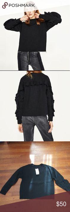 Zara denim sweatshirt with frills Black denim sweatshirt with ribbed round neckline and ribbed cuffs bust 23 inches length 25 inches Zara Tops Sweatshirts & Hoodies