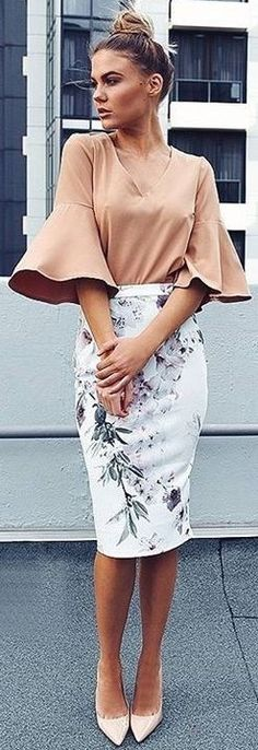 Tan Bell Sleeve Top + Floral Pencil Skirt                                                                             Source