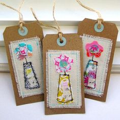Tag Embellishments Scrapbook Tag Gift Tag Sewn by tracyBdesigns Paper Bag Album, Fabric Embellishment, Fabric Cards, Bazaars, Tag Design, Vintage Tags, Christmas Gift Tags, Card Tags, Tag Art