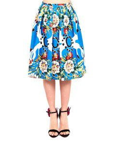 Multicolour full skirt high waist front and back darts completely decorated side zipper closure 100% CO