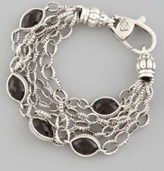 Lagos Sterling Silver Smoky Topaz Fluted Link Bracelet NWT $895.00 #Lagos #Chain