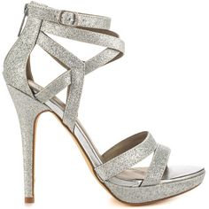 Michael Antonio Women's Tamar - Silver Glitter PU (820 MXN) ❤ liked on Polyvore featuring shoes, heels, silver, silver platform shoes, strappy shoes, silver high heel shoes, sexy platform shoes and silver sparkle shoes