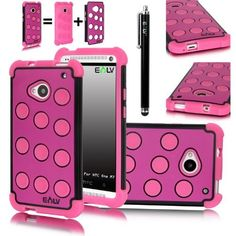 E-LV Hybrid Domino Polka Dot Dual Layer Armor Defender Case Combo for HTC One M7 with 1 Free Screen Protector, 1 Black Stylus and E-LV Microfiber Sticker Digital Cleaner (Retail Packaging) (HTC One M7, Purple on Hot Pink) by Elv, http://www.amazon.com/dp/B00D8VHDLM/ref=cm_sw_r_pi_dp_-Fi9rb091RYGM