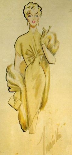 Costume design sketch by Travilla for Marilyn Monroe in 'There's No Business Like Show Business', 1954.