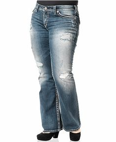 Silver Jeans Plus Size Jeans, Pioneer Destructed Bootcut, Blue Wash - Plus Size Jeans - Plus Sizes - Macy's