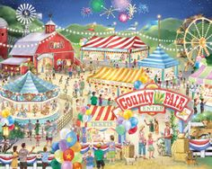 County Fair Jigsaw Puzzle | What's New | Vermont Christmas Co. VT Holiday Gift Shop | Artwork by Randy Wollenmann