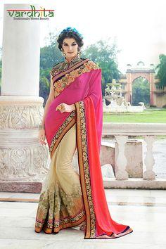 Pink, Orange & Cream Color Net & Georgette Fabric Saree  http://www.vardhita.co.uk/product-category/sarees/