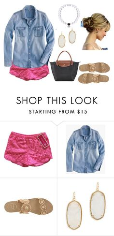 """""""There either want to kill you, kiss you or be you"""" by maggie-elizabetht ❤ liked on Polyvore featuring Lilly Pulitzer, J.Crew, Jack Rogers, Kendra Scott and Longchamp"""