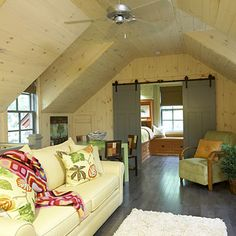 Upstairs Loft Area Made into a Game Room < Garden Ideas Throughout this Woodsy Cottage at Camp Callaway - Southern Living