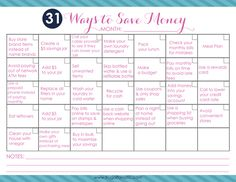 31 Ways to Save Money this Month FREE printable! Mark off the days as you complete each task saving money, ways to save money Mo Money, Money Tips, Money Saving Tips, Ways To Save Money, How To Make Money, Vida Frugal, Savings Jar, Show Me The Money, Budgeting Finances
