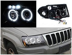 Spec-D Tuning Jeep Grand Cherokee Black Halo Led Projector Head Lights Brand new in original packaging. Exactly the same as shown in the Projector Headlights, Led Projector, 99 Jeep Grand Cherokee, Halo Led, Jeep Wj, Jeep Parts, Installation Instructions, Halo Rings, Exceed