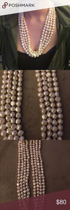 Ivory freshwater baroque pearl necklace Cultured Freshwater Pearl Necklace Baroque Shape Natural Ivory Cream   Materials: string, ivory pearl, freshwater pearl Pearl grade: AAA Necklace length: 100 inches Necklace colour: ivory Pearl size: 8-9mm Pearl shape: baroque Asking $80 Jewelry Necklaces