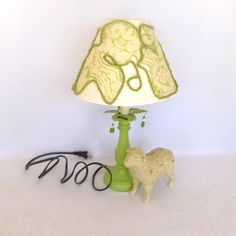 GREEN Repurposed TABLE LAMP by orangedoorcottage on Etsy