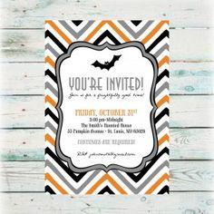 Halloween Party Invitation - Chevron