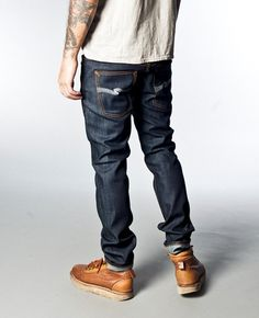 Thin Finn Organic Dry Ecru Emb - Nudie Jeans Co Online Shop