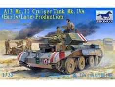 The Bronco A13 Mk.II Cruiser Tank Mk.IVA in 1/35 scale from the plastic tank model range accurately recreates the real life British cruiser tank from World War II. This plastic tank kit requires paint and glue to complete.