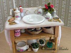 Miniature Dollhouse Rustic Wash Table Shabby Chic by Minicler, $63.47