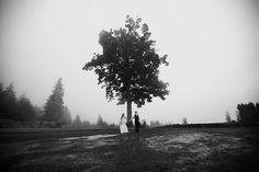 Pacific Northwest Wedding (photo: @Adam Navarrete). #wedding #bride #groom #weddingdress #dress #tree #blackandwhite