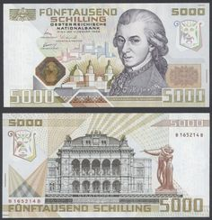 Austria currency, 5000 Austrian schilling Mozart banknote. Money Notes, Silver Eagle Coins, Foreign Coins, Old Coins, Native Indian, Postage Stamps, World, Artist, World Coins