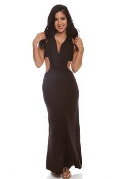 This long maxi dress features a round halter neck, ruffled trim on front, and open back. 54 inch measured from shoulders to finished hem. 95% Rayon/5% Spandex. Imported.  #lollicouture #fashion #fashionistas #dresses #fashionlovers #fashionicons #worldoffashion