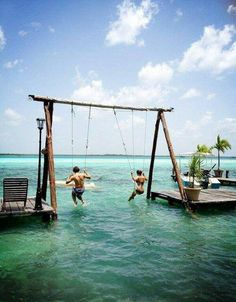 Bacalar Lagoon, Mexico-  Los Aluxes Hotel (the swing) known as the lagoon of seven colors, is the second largest lake in Mexico and because of its clarity and beautiful shades of turquoise is considered by some to be one of the most beautiful in the world.