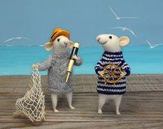 Nadel Gefilzte Maus Mäuse Matrosen paar Mäuse von MollyDollyNatural