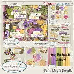 Fairy Magic Digital Scrapbook Kit Bundle. Perfect for Tinkerbell and her fairy friends!