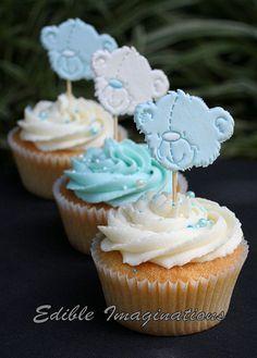 Blue and White Tatty Teddy Bear Cupcakes