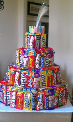 Candy cake...easy and different for kids birthday!