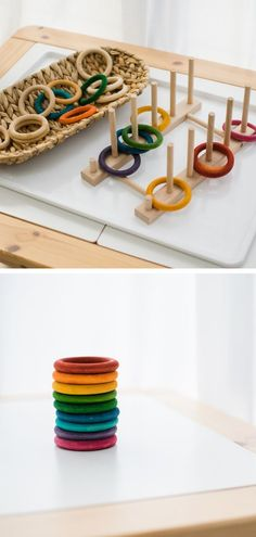 DIY Gifts for Kids: Simple Wooden Toy Projects - Inspire my Play : Wooden Rings- DIY toy/ gifts for babies Save money and make DIY gifts for the kids this year! These wooden toy projects are simple to achieve but make great gifts for little ones. Making Wooden Toys, Wooden Baby Toys, Wood Toys, Diy Wooden Toys For Toddlers, Cool Kids Toys, Diy Toys For Babies, Diy Kid Toys, Toy Diy, Toddler Toys