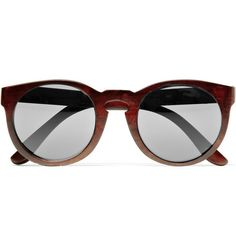 Illesteva - Round-Frame Wooden Sunglasses. We should try them as Frames....