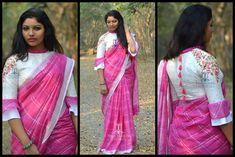 TS-SR-395.Available in More colours..Linen silver checks saree with a cream worked blouseFor orders/queriesCall/ whats app on8341382382 Mail tejasarees@yahoo.com.JC: Hema ManoharManoharam Silver Jewellery. 27 December 2017