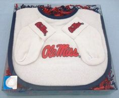 The ultimate defense against messy tailgate food for your little fan is our Mississippi Ole Miss Rebels Gotcha Covered bib gift set by Future Tailgater, $17.99
