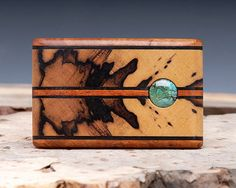 Exotic Wood & Turquoise Inlaid Belt Buckle  by ShandsDesign
