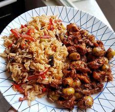 Poulet aux olives et aux piments et son riz aux légumes