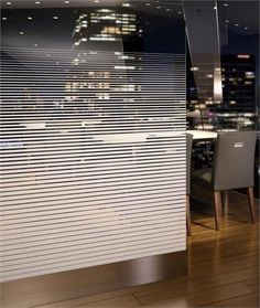 Fasara Venetian Window Film - for front window, flip it so dog can see out at bottom. Looks like blinds but he can't ruin them :-) Office Interior Design, Office Interiors, Glass Film Design, Glass Partition Designs, Stained Glass Window Film, Glass Office, Window Graphics, Privacy Glass, Wall Design