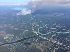 Looking down on wildfire in Alaska, glaciers nearby. Credit: AKFireInfo