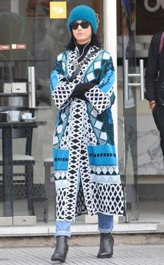 Katy Perry decked herself out in bright blue, black and white winter attire, not to mention classic wayfarer sunnies, while out 'n' about in Buenos Aires.