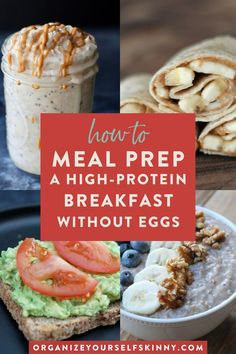 From bowls and sandwiches to bowls and muffins, these meal prep breakfast recipes WITHOUT eggs will be a breakfast game changer! These recipes are easy to make ahead & even freeze! Click through for the recipes! Organize Yourself Skinny Healthy Make Ahead Breakfast, High Protein Breakfast, Healthy Breakfast Recipes, Brunch Recipes, Healthy Recipes, Easy Recipes, Vegetarian Recipes, Easy Meal Prep, Healthy Meal Prep