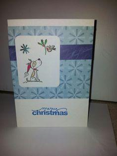 Blue dog robin xmas card