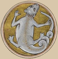 Miniature of a lizard. From the manuscript Royal 12 C XIX f. 68v, 13th century, English, British Library