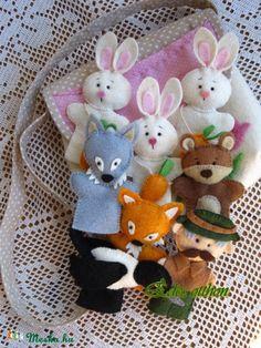 Három nyuszi ujjbáb készlet táskában, Baba-mama-gyerek, Játék, Báb, Varrás, Meska