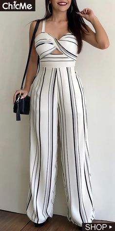 This striped jumpsuit features v neck and bare back, and this high waist jumosuit is for the casual life, date and other occasions. Maxi Shirt Dress, Jumpsuit Dress, Striped Jumpsuit, Casual Dresses For Women, Casual Outfits, Cute Outfits, Mode Kimono, Jumpsuits For Women, African Fashion