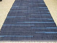 Handwoven Navy w/medium Blue Accents Rag Rug 25 x 65