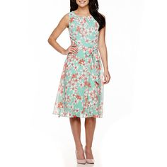 R&K Originals® Sleeveless Floral Print Fit-and-Flare Dress - JCPenney