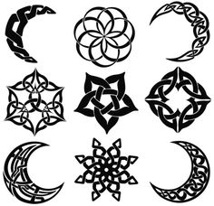 Vector Celtic knot moons and star shapes.